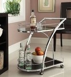 eHomeProducts Chrome Metal Bar Serving Cart With Tempered Glass