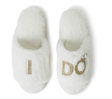 Dearfoams Bridal I Do and I Do Crew Slide Slipper