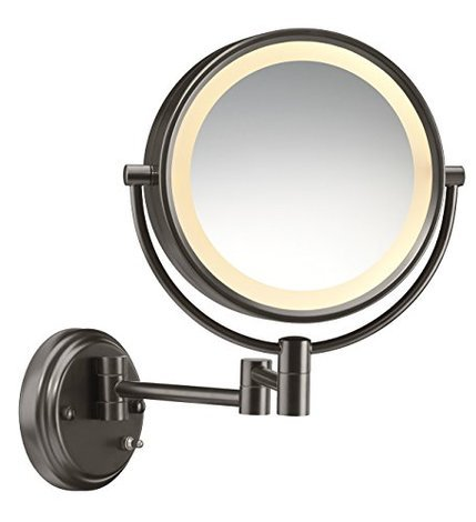 Round Double Sided Wall Mounted Lighted Makeup Mirror